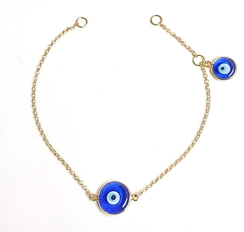 Piulseira 2 olhos azul tradicional ouro amarelo