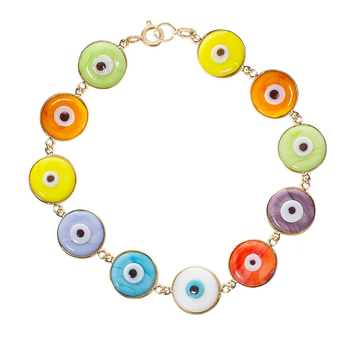 Pulseira 11 olhos de murano - colorida - várias opções