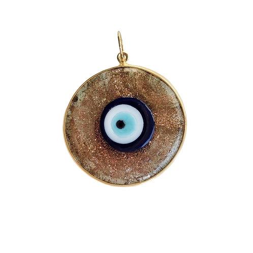 Olho grego azul tradicional com moldura dourada