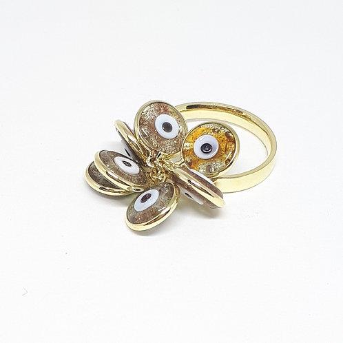Anel chumaço olho grego dourado
