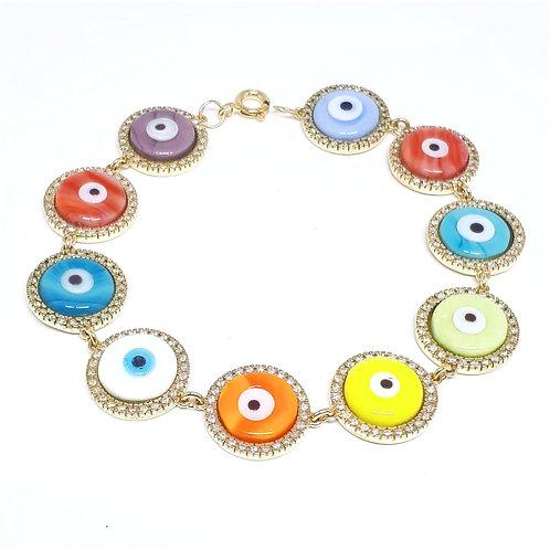 pulseira 10 olhos gregos com brilhantes