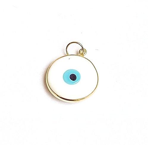 Pingente olho grego medio branco em ouro amarelo