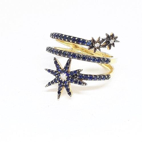 Anel estrelas de safiras  e brilhantes.