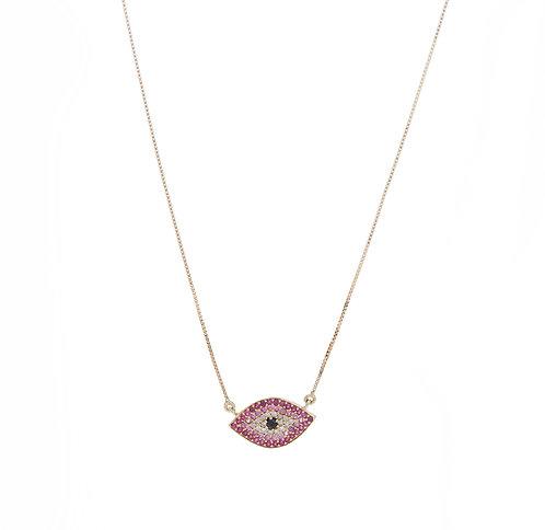 Colar olho degradée em rubis, safiras rosa e brilhantes