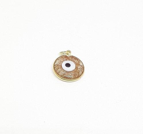 Pingente olho grego pequeno dourado em ouro amarelo