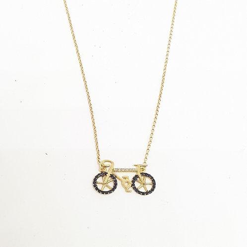 Colar bicicleta com brilhantes e safiras negras