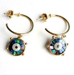 Argolas pequenas com olho de abalone