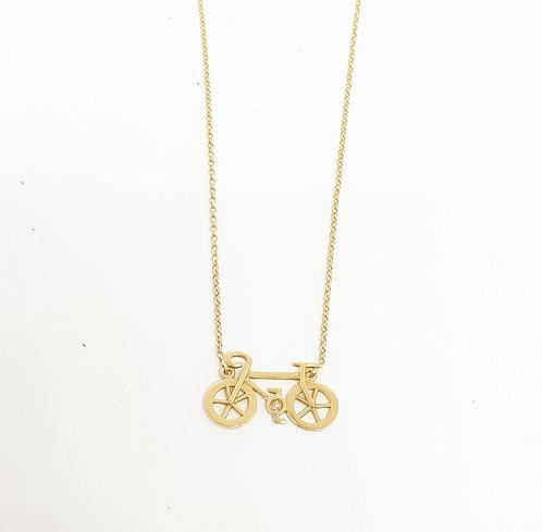 Colar bicicleta em ouro com 1 brilhante
