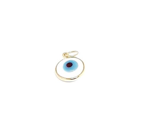 Pingente olho grego mini branco ouro amarelo