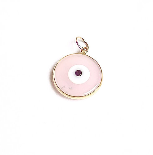 Pingente olho grego medio rosa ouro amarelo