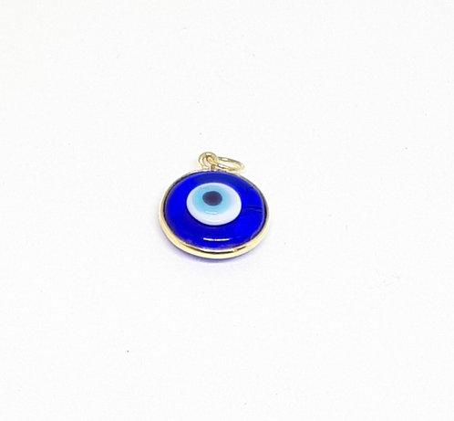 Pingente olho grego pequeno azul tradicional ouro amarelo