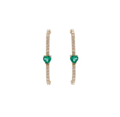 Brincos de lóbulo com coração de esmeralda e brilhantes