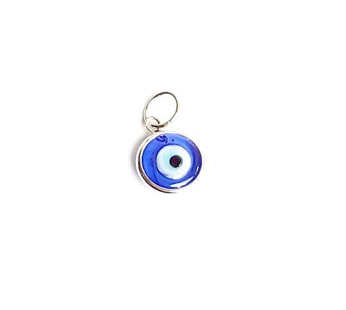 Pingente olho grego mini azul tradicional ouro branco