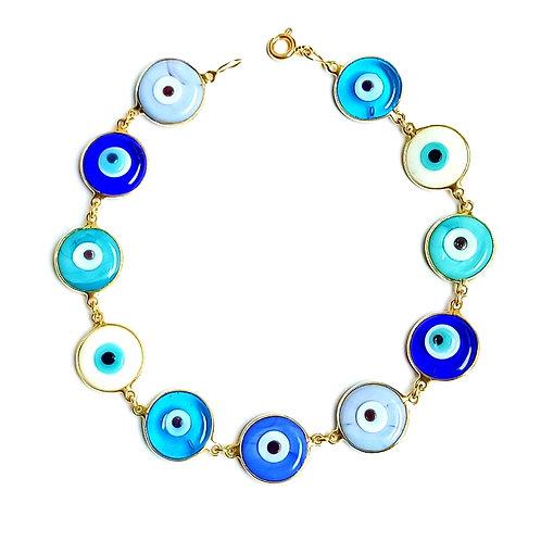 Pulseira 11 olhinhos de murano - tons de azul em ouro amarelo