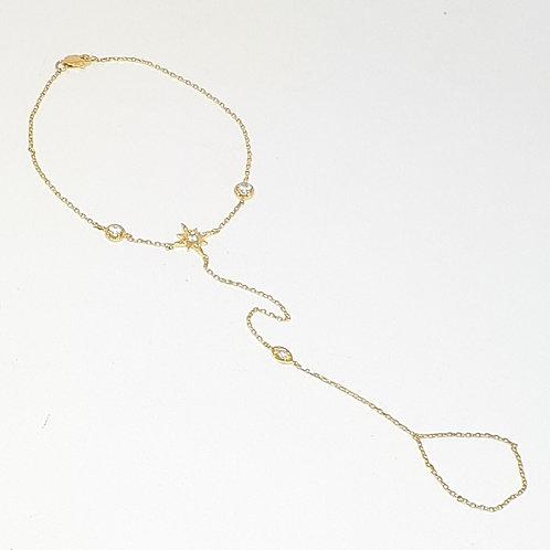 Hand Chain estrelinha com safiras brancas