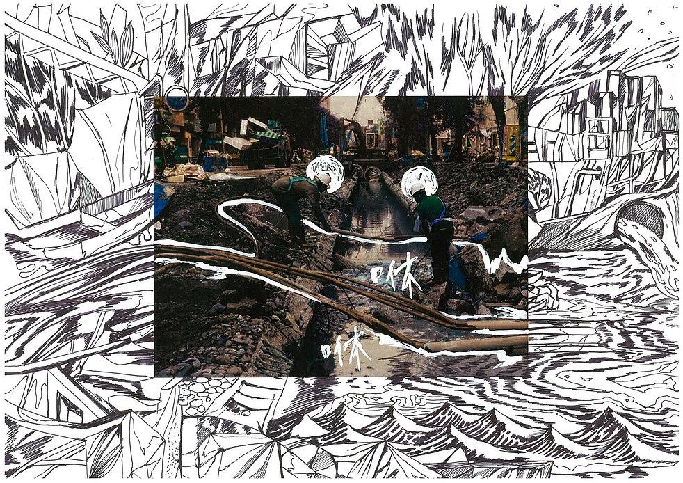 陳依純_人為災害系列-你家地底下埋的管線大爆炸了!22016_複合媒材_21×2