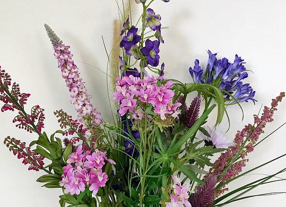 Veldboeket: lila, blauw en roze