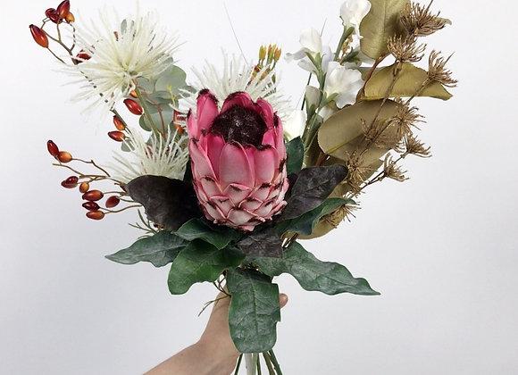 Protea boeket: hot pink & warme tinten