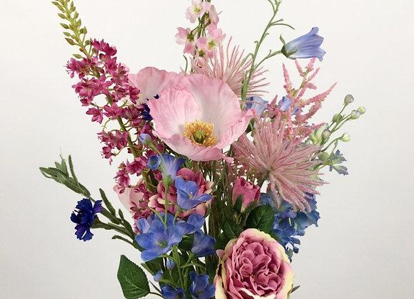 Plukboeket: roze, fushia en blauw tinten