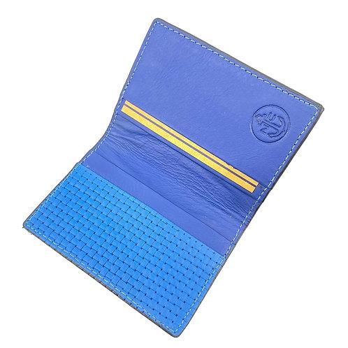 Porta Tarjetas Bifold (Azul Tramado)