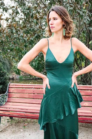 Vestido verde con vuelo