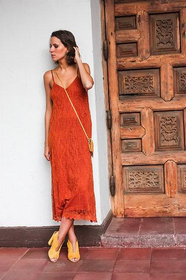 Vestido naranjo crochet
