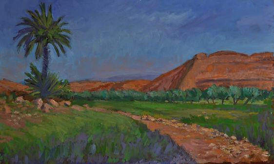 Desert at Ait Bahaddou. Oil. 60 x 100 cm