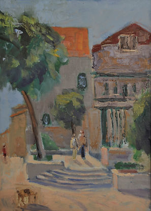 19. A courtyard, Nachlaot. Oil 14 x 10 i