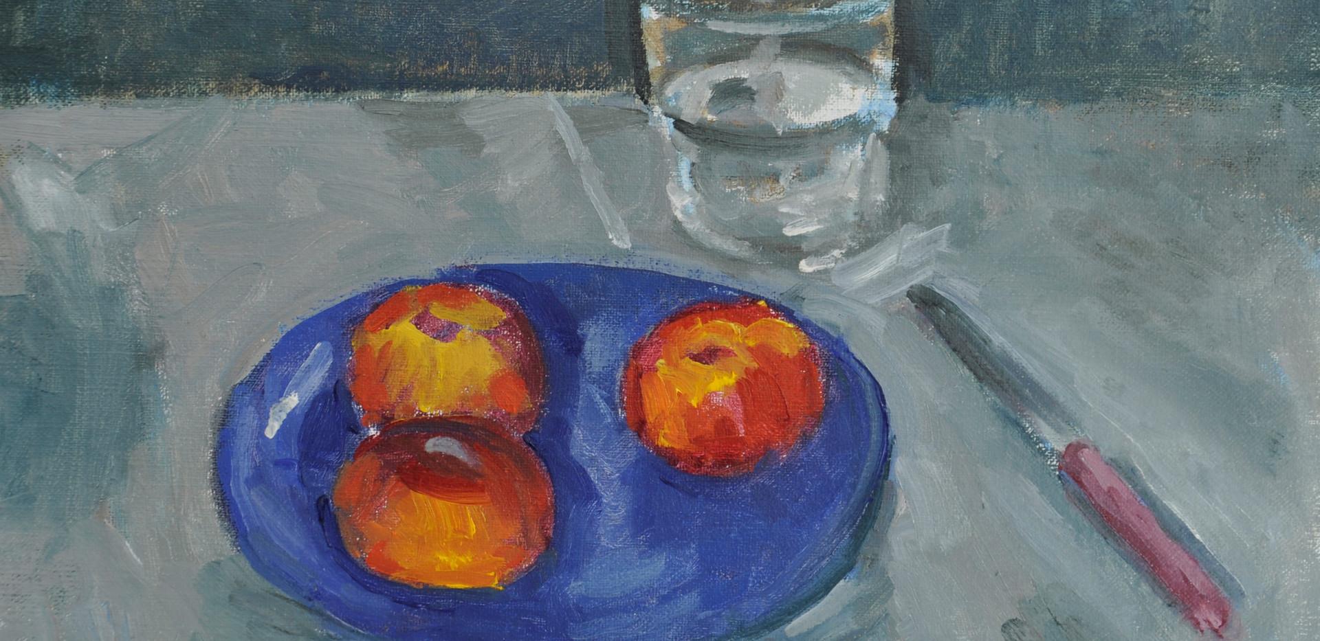Peaches on a Blue Plate