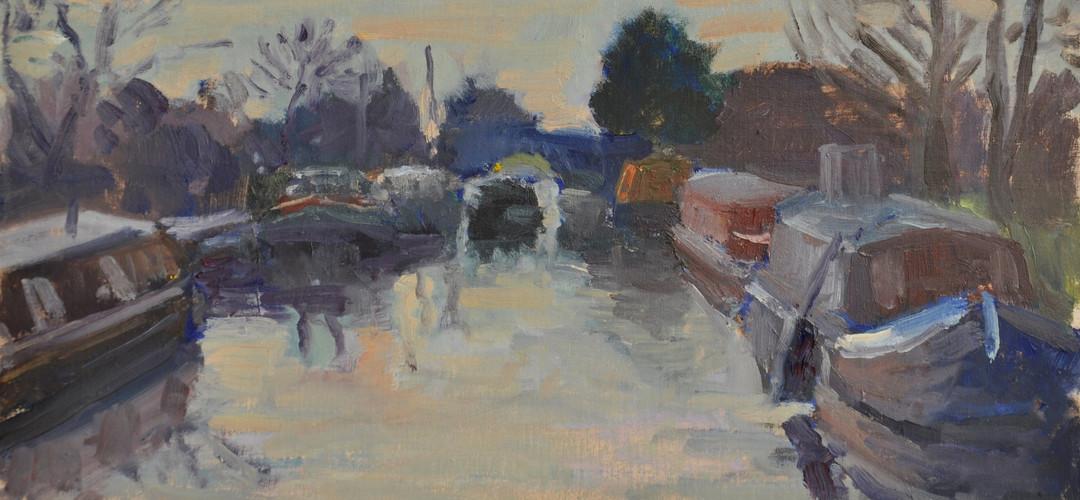 Barges oil 20 x 40 cm