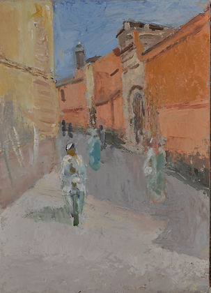 13. Street with Mosque. oil. 35 x 25 cms