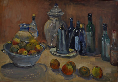 Still life with oil can. Oil. 50 x 70 cm