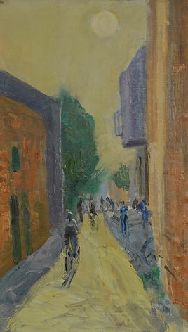 21. A lane off Jaffa Street, Oil. 14 x 8
