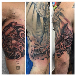 Another session in the books on this #wip #workinprogress #sleevetattoo #religious #bdts #beardeddra