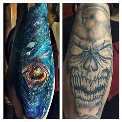 #coverup #skull #galaxy #inkedout #bdts #beardeddragontattoostudionj #boontonnewjersey #tellafriend