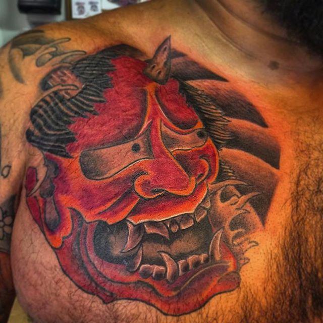 #hanya #Japanese #mask #tattoo #hanyatattoo #bdts #beardeddragontattoostudionj #boonton #newjerseyta