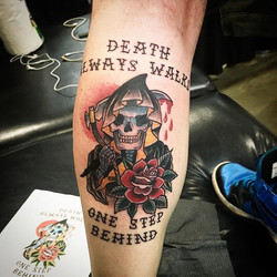 Death always walks one step behind #reaper #art #tattooidea #reapertattoo #ladytattooer #bdts #callm