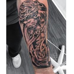 Jesus and rose tattoo