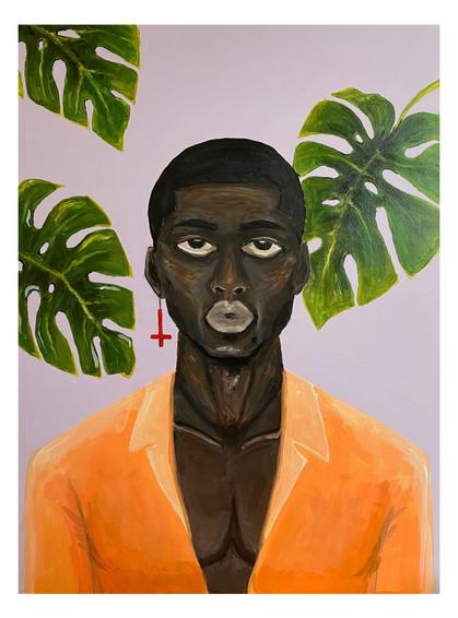 Чёрный парень и листья монстеры