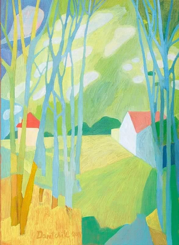 Время весны с голубыми деревьями