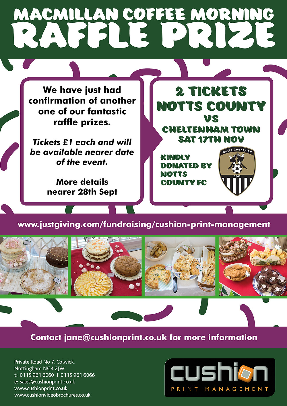 Win 2 x Football Tickets Kindly Donated By Notts County FC For Our Macmillan Cake Sale Event On 28th Sept