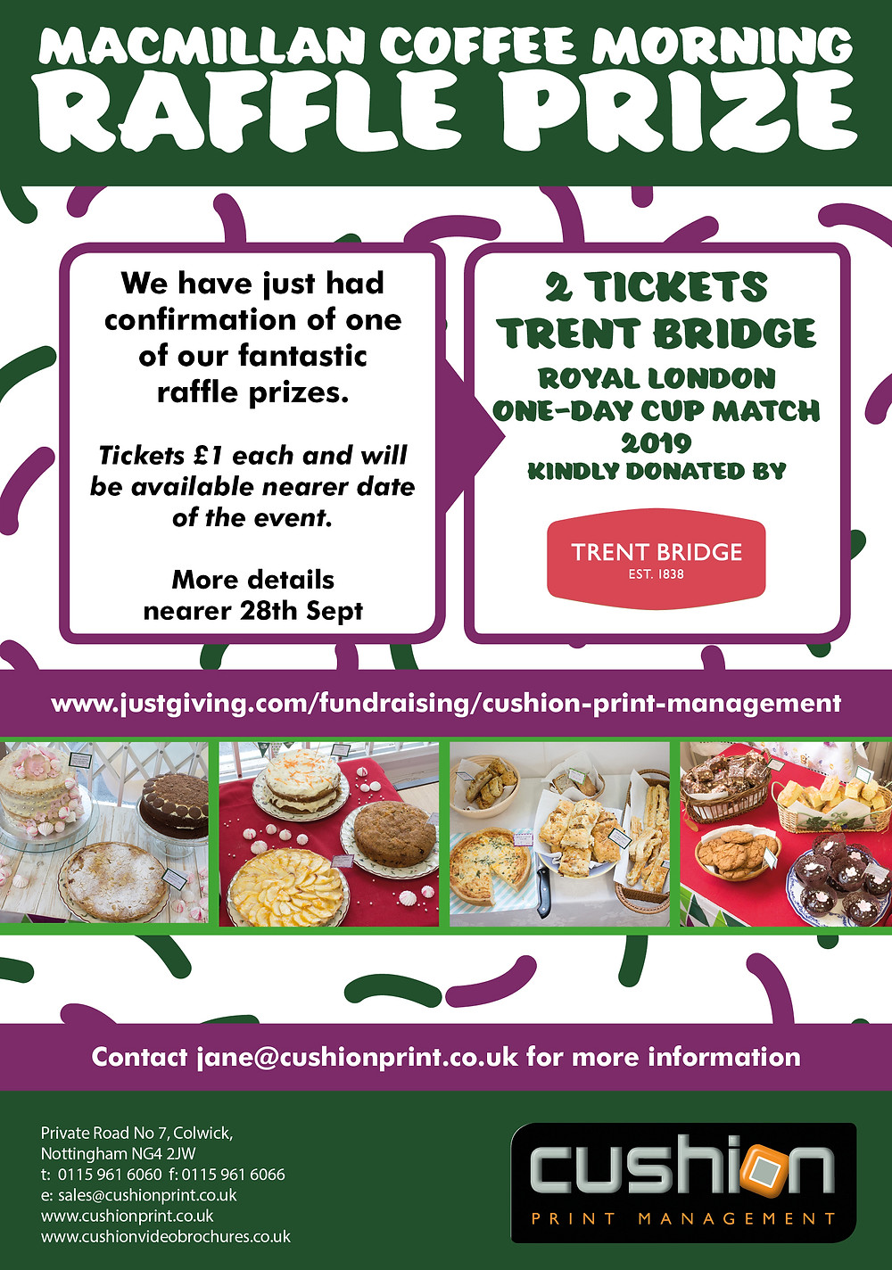 Cricket raffle tickets donated by Trent Bridge