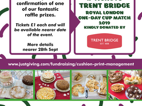 Cricket Tickets Donated By Trent Bridge For Our Macmillan Cake Sale On 28th Sept
