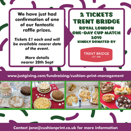 Cricket Tickets Kindly Donated By Trent Bridge For Our Macmillan Cake Sale Event On 28th Sept