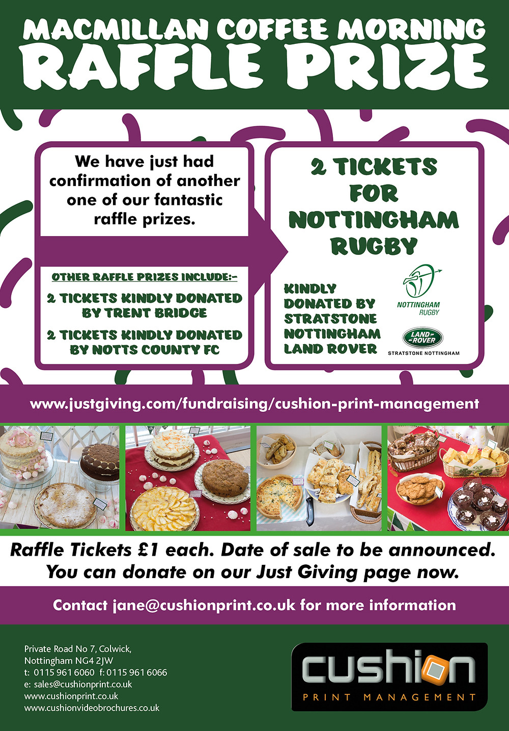 Win 2 x Nottingham Rugby Tickets Kindly Donated By Stratstone Nottingham Land Rover For Our Macmillan Cake Sale Event On 28th Sept