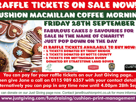 OUR CHARITY RAFFLE TICKETS ARE ON SALE NOW!  JUST POP INSIDE TO PURCHASE YOUR RAFFLE TICKETS NOW...