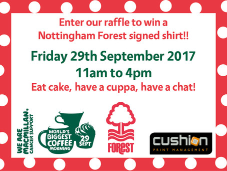 Win a Nottingham Forest Signed Football Shirt - Macmillan's World's Biggest Coffee Morning – 29th Se