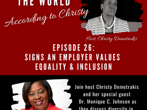 "Announcement!  Listen in to ""Signs an Employer Values Equality & Inclusion""."
