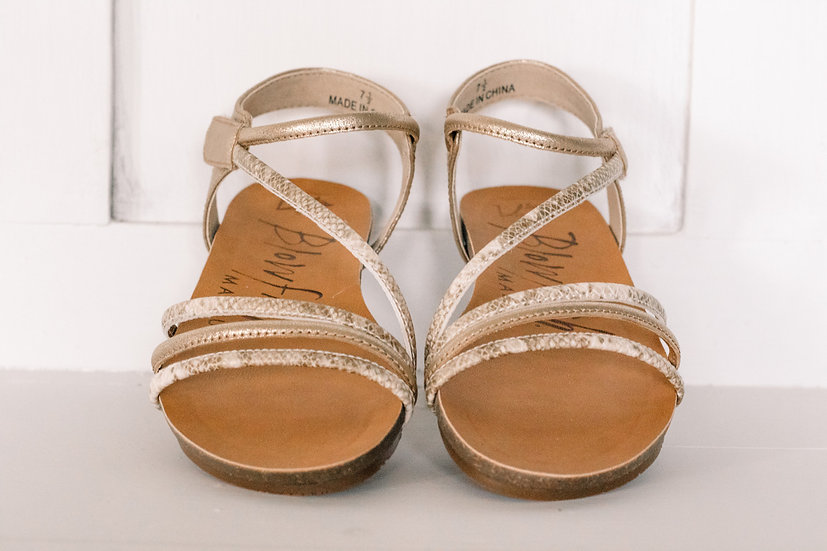 Blowfish-W Gazee Gold Snakeskin Sandals