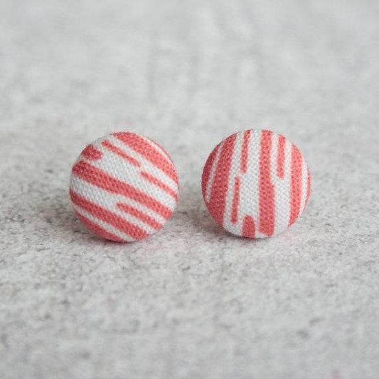 Fabric Button Geometric Earrings